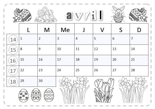 calendrier à lecture horizontale, avec événement du mois et les végétaux du jardin