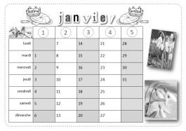 calendrier sous forme de tableau à double entrée, à lecture verticale