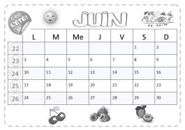 calendrier cp à lecture horizontale