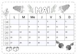 calendrier cp à lecture horizontale avec fruits, fleurs et légumes du jardin