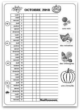 calendrier de l'élève à une colonne