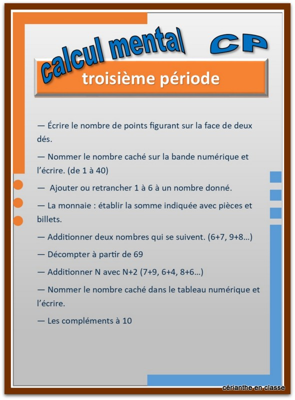 calcul mental cp progression par période 3