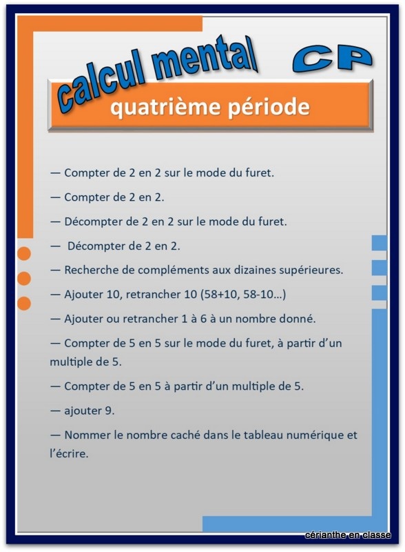 calcul mental cp progression par période 4