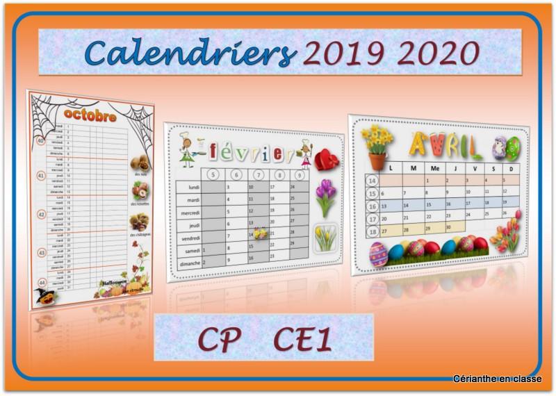 calendriers 2019 2020 présentation