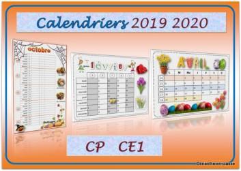 Calendrier 2020 A Completer.Calendriers 2019 2020 Cp Ce1 Cerianthe En Classe