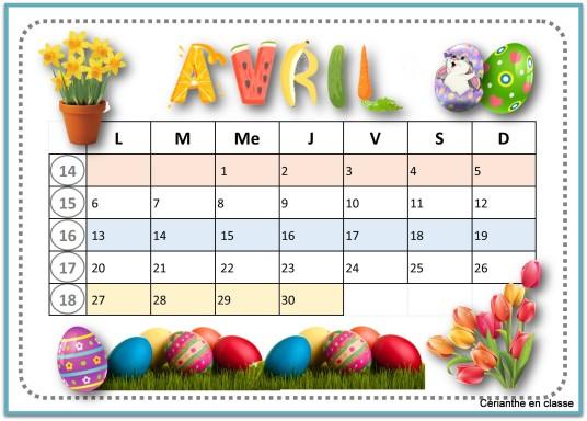 calendriers 2020 avril à août 1