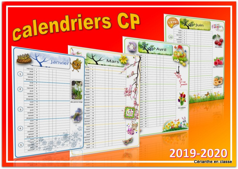 calendriers cp 1 colonne 2019 20