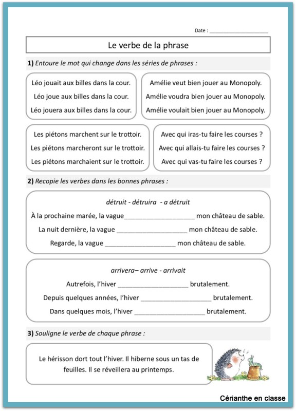 Trouver Le Verbe De La Phrase Au Ce1 Cerianthe En Classe