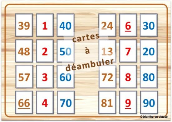 jeux de calculs CE1 cartes à déambuler 1