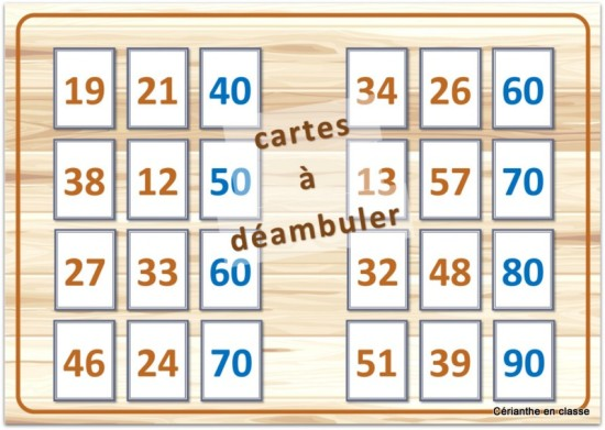 jeux de calculs CE1 cartes à déambuler 2