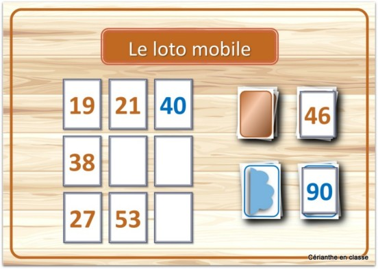 jeux de calculs CE1 loto mobile