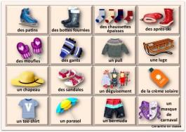 cartes vêtements et accessoires