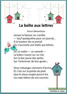 poème la boîte aux lettres