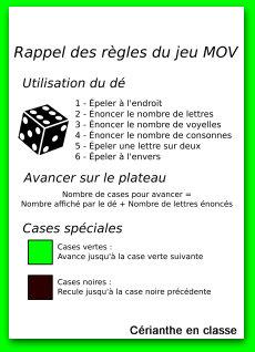 règle du jeu du MOV