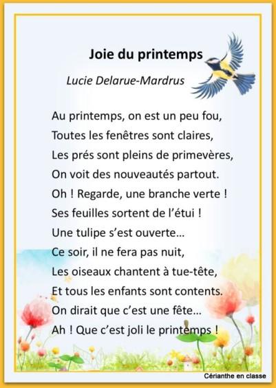 poème joie du printemps