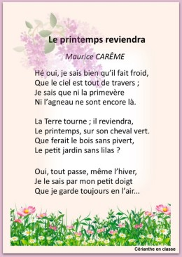poème le printemps reviendra