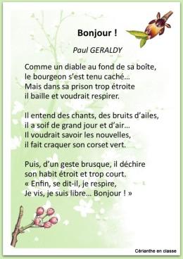 poème printemps bonjour