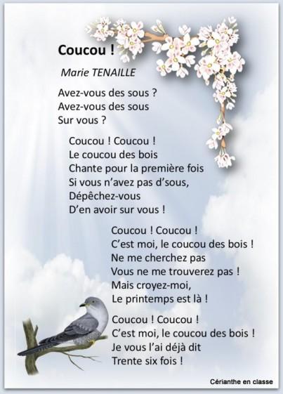 poème printemps coucou