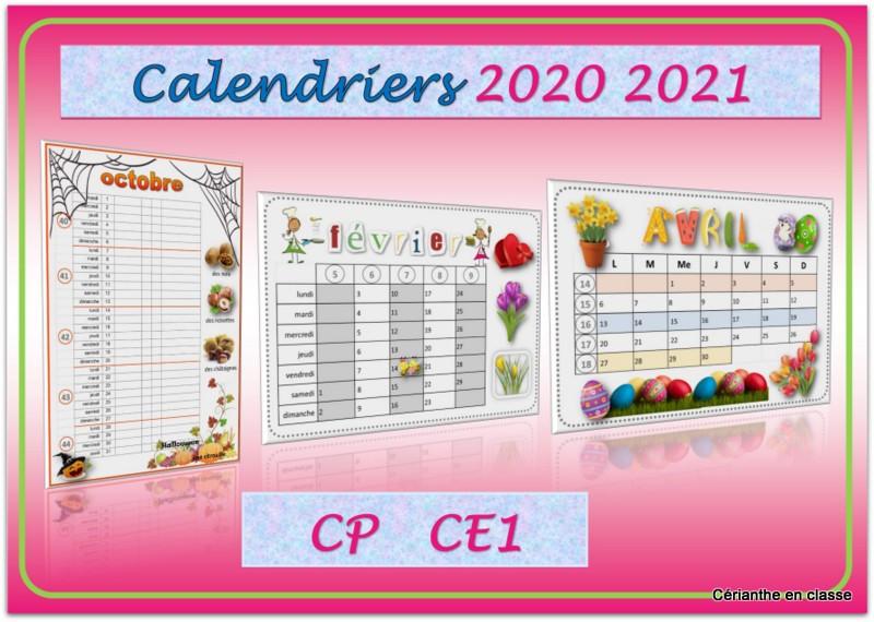 calendriers 2020 2021 présentation