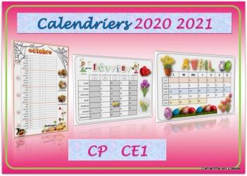 Calendrier Cp 2021 CALENDRIERS 2020 2021 CP CE1 – Cérianthe en classe