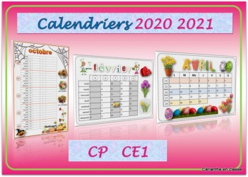 CALENDRIERS 2020 2021 CP CE1 – Cérianthe en classe