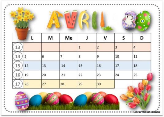 calendriers 2021 avril