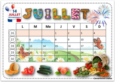 calendriers 2021 juillet
