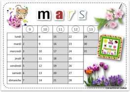 calendriers 2021 mars